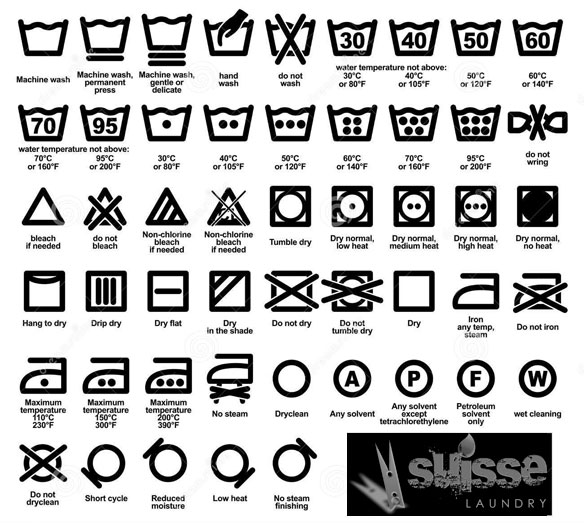 temizlik sembolleri, yıkama talimatı